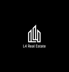 Letter l and 4 with building logo design concept vector