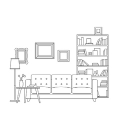 Line interior of living room vector image
