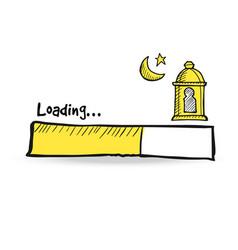 Loading status bar with arabic lantern moon vector