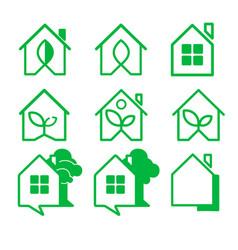 Logo home a set of nine logos house icons vector