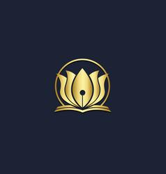 lotus flower beauty floral logo vector image
