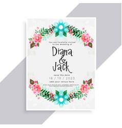 Lovely flourish wedding card design vector