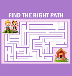 maze game finds the hansel and grettel way to cand vector image