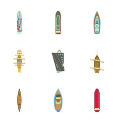 Motorboat icons set cartoon style vector
