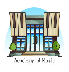 Music academy or conservatory building vector