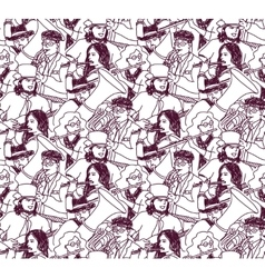 Musicians doodles ink crowd seamless pattern vector image