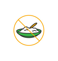 No eat for fasting symbol simple monoline icon vector