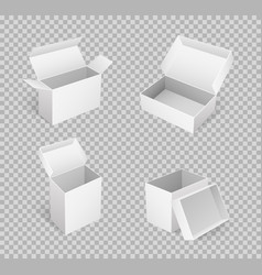 open carton boxes of square shape in 3d isometric vector image