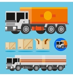 orange and white delivery trucks vector image