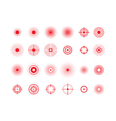 Pain circles red target icons set vector