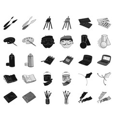 painter and drawing blackmonochrome icons in set vector image