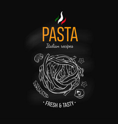 Pasta design template on chalkboard vector