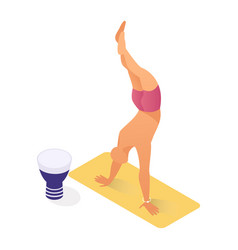 Person working out yogi on seashore healthy vector