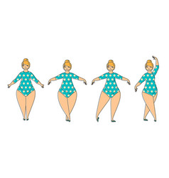 plus size woman doing ballet exercises vector image