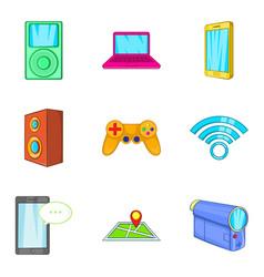 Portable device icons set cartoon style vector