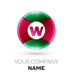 Realistic letter w logo in colorful circle vector