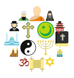 Religion flat icons set vector