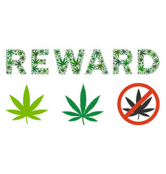 reward label collage of weed leaves vector image