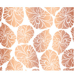 rose gold foil mosaic leaves seamless vector image