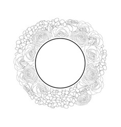 Rose hydrangea and ranunculus banner wreath vector