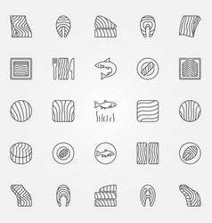 salmon icons set trout or salmon fish vector image