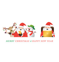 Santa claus use smartphone and laptop online live vector