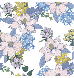 Seamless pattern with graphic flowers for textile vector