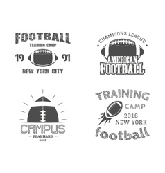 set american football team campus badges logos vector image