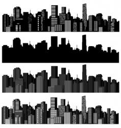 Set cities silhouette vector