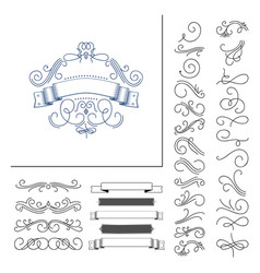 set hand drawn flourish elements vector image