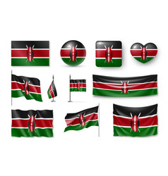 set kenya flags banners banners symbols vector image