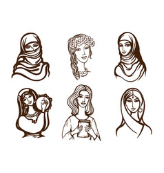 set of images of girls - ukrainian indian arab vector image