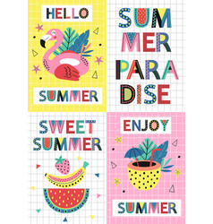 set summer paradise cards part 1 vector image