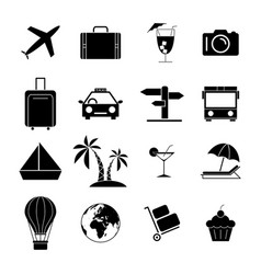 set travel holiday black icons vector image