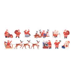 set xmas santa claus character riding reindeer vector image