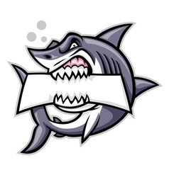 Shark bite a blank sign vector