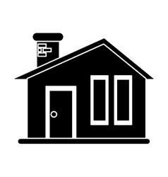 Silhouette house modern style chimney brick vector