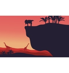 Silhouette of Brachiosaurus and T-Rex with red vector image