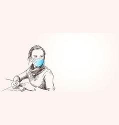 sketch teenage girl in medical face mask vector image
