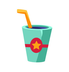 Soft drink in glass with a straw cinema and movie vector