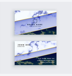 Stylish blue marble business card design vector