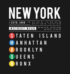 t-shirt design in concept new york city vector image