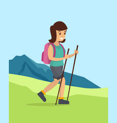 teenage girl walking down the hill vector image