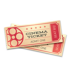 Two cinema or theater realistic tickets with vector