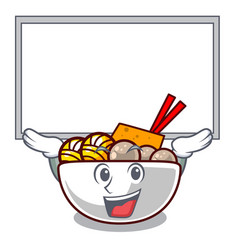 up board meatball fried on cartoon plate vector image