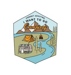 Vintage camping rv logo adventure emblem vector