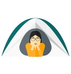 Woman lying in tent vector