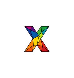 X colorful low poly letter logo icon design vector