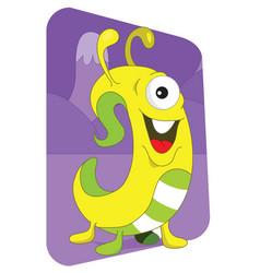 yellow wormlike alien monster on a purple vector image