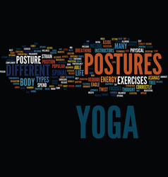 yoga postures text background word cloud concept vector image